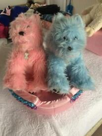 Build a bear two dogs one pink one blue and pink dog bed