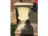 Set of 4 stone urn planters