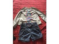 GIRLS OUTFIT M&S TOP & MOONSOON DENIM SHORTS AGED 9-10 YEARS BARGAIN