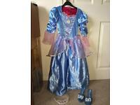 Genuine Disney Reversible Cinderella & Sleeping Beauty Dress plus Cinderella shoes&tiaras. Age 5-8.