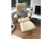 Cream leather recliner/swivel chair with footstool