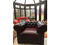 Chesterfield London English Low Back Club Armchair Oxblood Leather Armchairs in excellent condition