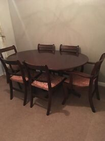 Dining table & 6 chairs extendable