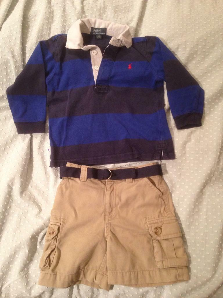 Genuine Ralph Lauren rugby shirt & shorts outfit. Size 24 months / 2 years