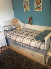 2 X Ikea HEMNES Day Beds with 3 deep drawers and 2 mattresses - very good condition