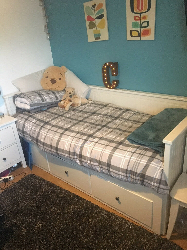 Ikea Hemnes Day Bed With 3 Deep Drawers And 2 Mattresses