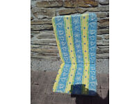 Bright summery seat cushions for high back chairs - Excellent clean condition -
