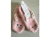 Ladies/Girls Pink Bunny Slippers M&S