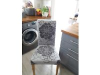 Grey patterned dining chairs