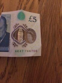 AK47 £5 bank note