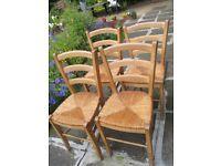 4 Dinning Wood/Jute Chairs