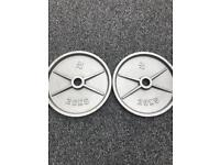 2X 20KG OLYMPIC METAL WEIGHT PLATES