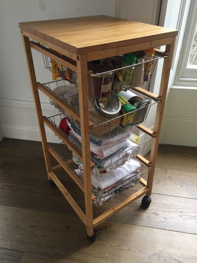 Bamboo Kitchen Pantry Wire Baskets Trolley