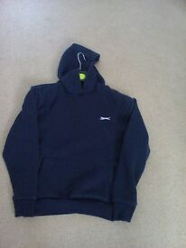 slazenger navy blue pull on hoody large pocket on front age 11/12 yrs