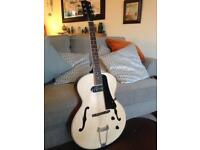 Archtop Jazz Guitar. Hollow Body. Natural. + Hard Case (Crocodile Skin Look!). P90 Pickup.