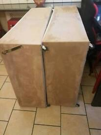 Suede double bed base