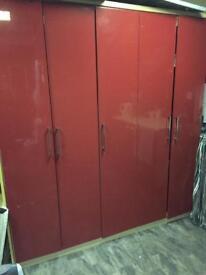 WARDROBES RED 5 DOOR