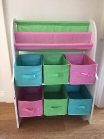 Kids bookcase and basket storage unit