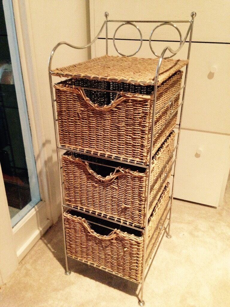 Wicker Basket Cabinet 3 Wicker Basket Cabinet Within Metal Frame In Fulham London