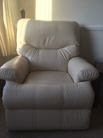 Cream Leather Sherborne Suite, excellent condition, large 3 seat sofa, 2 armchairs (1 reclining)