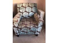 Single Leaf Patterned Blue / Brown Armchair