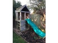 Professional Custom Made High quality wooden Garden Play Tower Playhouse Slide