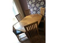 Oak solid wood extendable dining table & chairs