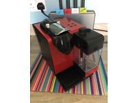 Nespresso Lattissima + red coffee pod machine and 40 pod holder
