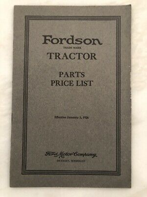 1926 FORDSON TRACTOR Parts List FORD Motor Co CATALOG Farm VINTAGE ILLUSTRATED