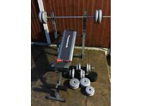 Excellent condition Bench with 53kg weights Set. •Can Deliver•
