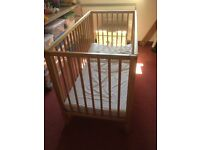 Mothercare cot with mattress, like new, c3 fitted sheets available if required