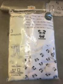 3x sleepsuits brand new in packaging 3-6 months