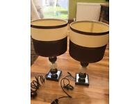 2 x Good Quality Table Lamps with glass bases