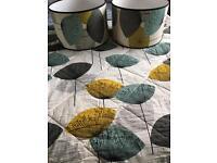 Sanderson dandelion clocks aqua king size quilted throw & 2 lamp shades