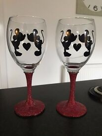 Red Set Micky Minnie Mouse Glitter Glass Engagement Valentines Wedding Present