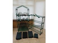 4 x 4 Tier Mini Greenhouses with covers and 2 x 4 Tier Staging Houses