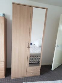wardrobe, 2 doors 2 draws and mirror
