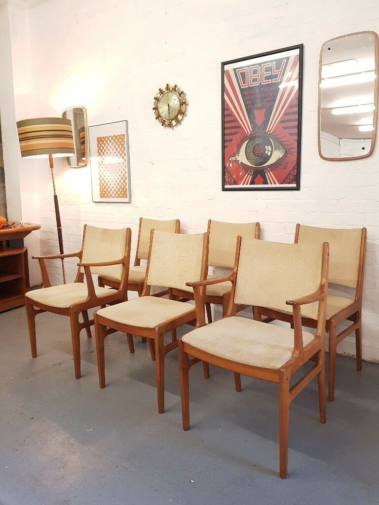 6 Danish Vintage Chairs Mid Century By D Scan
