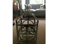 Large Ceiling Lantern light fitting, in polished nickel, complete with fittings