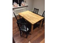 Beautiful wooden dining table and 4 chairs