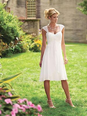 Wedding Dress Cap - Cap Sleeves Chiffon Short Wedding Dress Bridal Gown Custom Size 6 8 10 12 14 16+