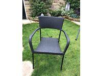 Black rattan garden chairs x 4