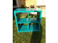 Teal Ikea Box Storage Unit with fabric storage boxes avalible