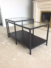 Brand new set of two glass and black best coffee tables