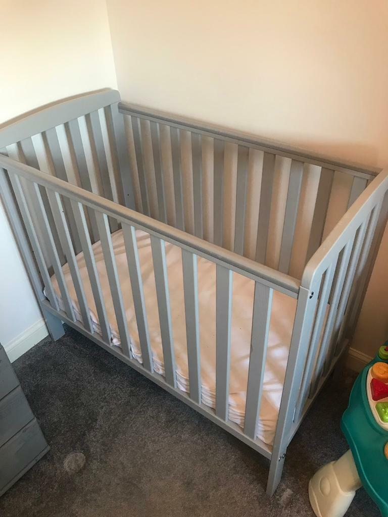 wholesale dealer 5ad3e 1cd30 Grey wooden Rafferty compact cot and mattress | in Spennymoor, County  Durham | Gumtree
