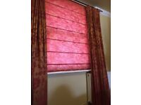 Pair of excellent quality, fully lined curtains and matching blind in Sanderson material