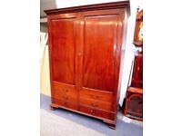 ANTIQUE QUALITY GEORGIAN SOLID FINEST MAHOGANY DOUBLE WARDROBE WITH DRAWERS BELOW