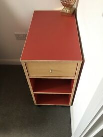 Red desk drawer