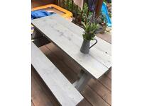 Garden Pub style table with benches indoor / outdoor furniture