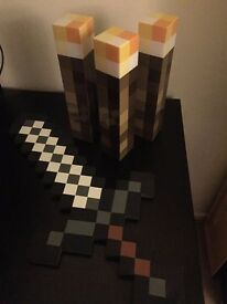 3x Minecraft Wall Torches and Foam Sword for sale